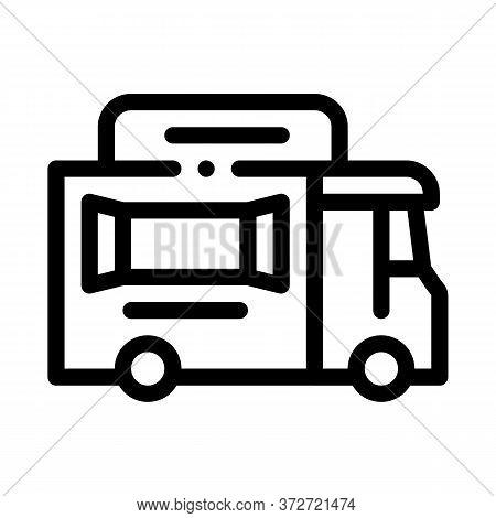 Street Food Van On Wheels Icon Vector. Street Food Van On Wheels Sign. Isolated Contour Symbol Illus