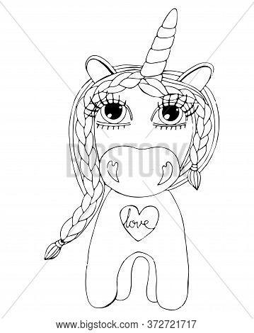 Black Line Unicorn For Coloring Book Or Page. Cute Unicorn.