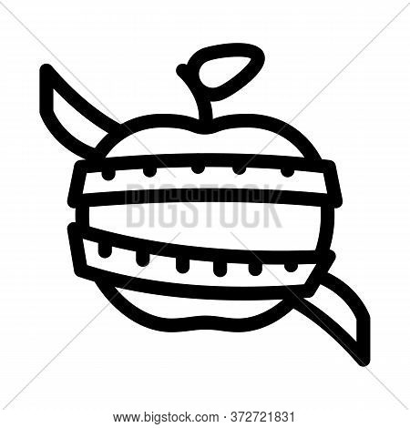 Fruit Apple Measuring Cord Icon Vector. Fruit Apple Measuring Cord Sign. Isolated Contour Symbol Ill