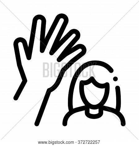 Woman Hitting Icon Vector. Woman Hitting Sign. Isolated Contour Symbol Illustration