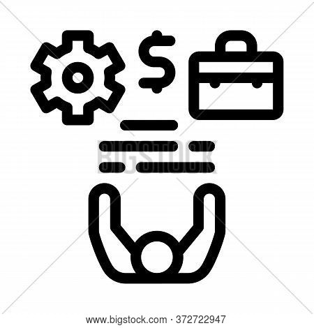 Business Case Money And Gear Icon Vector. Business Case Money And Gear Sign. Isolated Contour Symbol