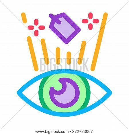 Price Label See Human Eye Icon Vector. Price Label See Human Eye Sign. Color Symbol Illustration