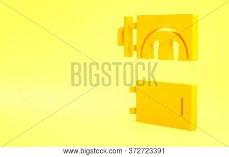 Yellow Crematorium Icon Isolated On Yellow Background. Minimalism Concept. 3d Illustration 3d Render