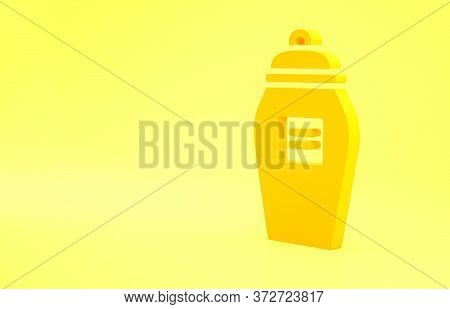 Yellow Funeral Urn Icon Isolated On Yellow Background. Cremation And Burial Containers, Columbarium