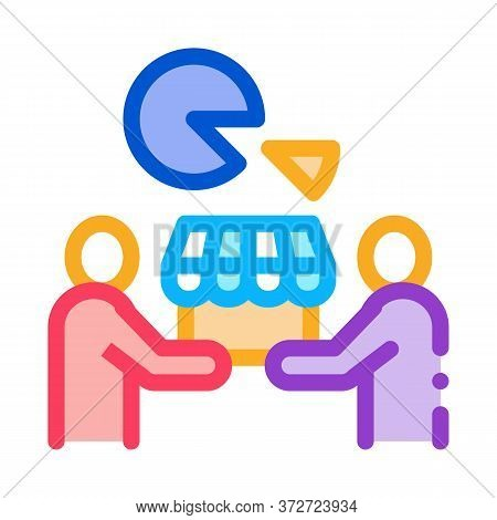 Sold Business Part Icon Vector. Sold Business Part Sign. Color Symbol Illustration
