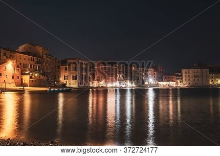 Panoramic Night View Of Beatiful Sea Resort Town. Romantic Vacation. Italy, Sestri Levante, Bay Of S