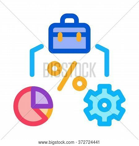 Percent Business Case Infographic And Gear Icon Vector. Percent Business Case Infographic And Gear S