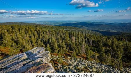 Beautiful Colorful Forested Hilly Landscape With Rocks In The Foreground, Jeseniky Mountains, Czech