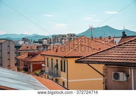 Panoramic, Aerial View Of Resort Town Sestri Levante, Italy. Architecture With Tiled Orange Roofs.