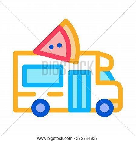 Pizza Street Food Van Icon Vector. Pizza Street Food Van Sign. Color Symbol Illustration
