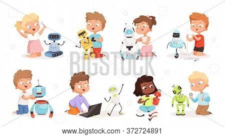 Kids Robot Programming. Future Technology Educational Process Children Modelling Or Repair Robotic T