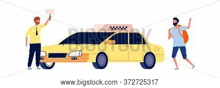 Driver And Traveler. Tourist Catches Taxi, Man Stop Yellow Car. Travel Or City Tour, Taxi Service Ve