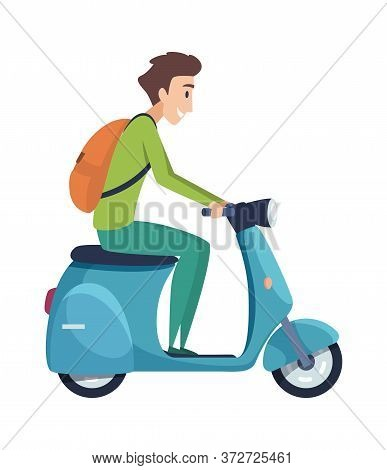 Young Man On Scooter. Student Ride Motorcycle, Tourist With Backpack Drive Motorcycle. Isolated Stud