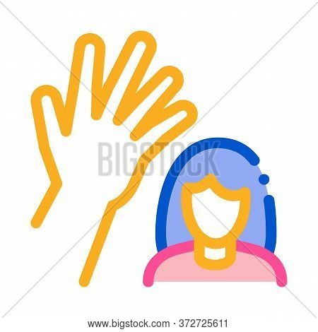Woman Hitting Icon Vector. Woman Hitting Sign. Color Symbol Illustration