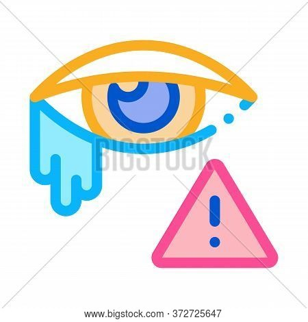Crying Eye Exclamation Sign Icon Vector. Crying Eye Exclamation Sign Sign. Color Symbol Illustration