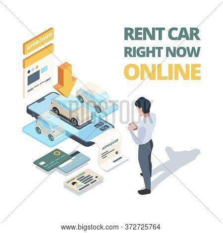 Rent Car Online. Digital Buying Automobile Or Car Sharing Service Dealership Online Shopping Vector