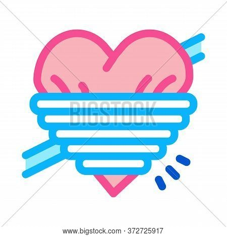 Heart Squeezed By Rope Icon Vector. Heart Squeezed By Rope Sign. Color Symbol Illustration