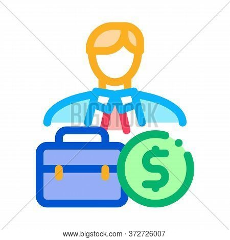 Businessman Case And Money Banknote Icon Vector. Businessman Case And Money Banknote Sign. Color Sym
