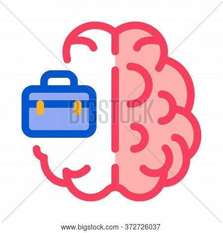 Business Case And Brain Icon Vector. Business Case And Brain Sign. Color Symbol Illustration