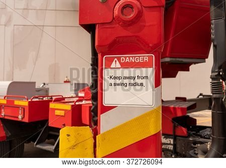 Danger Label From Telescopic Boom Lifts When Machine Swing Radius For Keep Away From A Swing Radius
