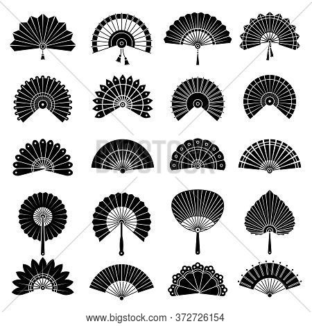 Chinese Fan. Beautiful Japanese Hand Paper Fan Vector Authentic Illustrations. Black White Souvenir,