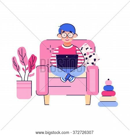 Smart Cute Child Boy Cartoon Character Sitting In Chair With Laptop, Flat Vector Illustration Isolat
