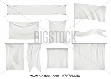 Textile Banners. Empty Fabric Blank Satin Modern Flag For Promotion Messages Vector Textile Realisti