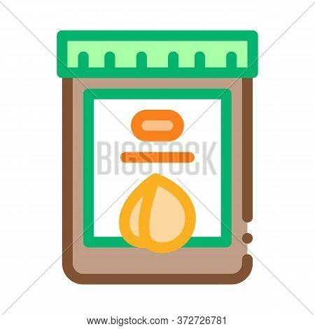Nut Butter Jar Icon Vector. Nut Butter Jar Sign. Color Symbol Illustration