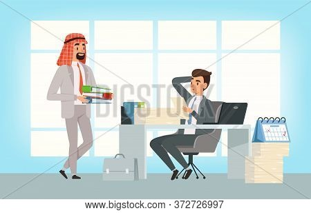 International Business Partners. Arab Businessman And Manager, Deadline And New Tasks. Office Center
