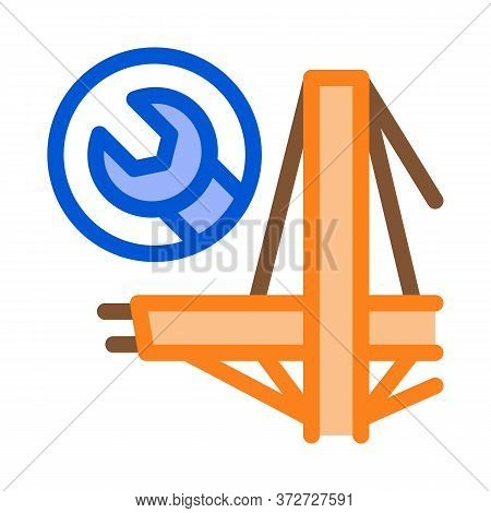 Bridge Repair Icon Vector. Bridge Repair Sign. Color Symbol Illustration