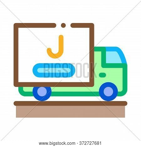 Juice Delivering Truck Icon Vector. Juice Delivering Truck Sign. Color Symbol Illustration