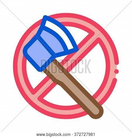 Crossed Out Ax Icon Vector. Crossed Out Ax Sign. Color Symbol Illustration