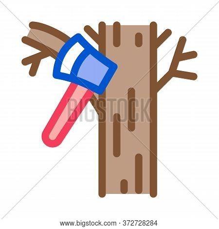 Tree Ax Icon Vector. Tree Ax Sign. Color Symbol Illustration