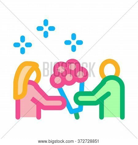 Guy Give Flowers To Girl Icon Vector. Guy Give Flowers To Girl Sign. Color Symbol Illustration