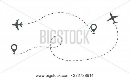 Plane Take Off. Aircraft Path, Airplane Isolated Route Vector Illustration. Flight Aircraft, Airplan