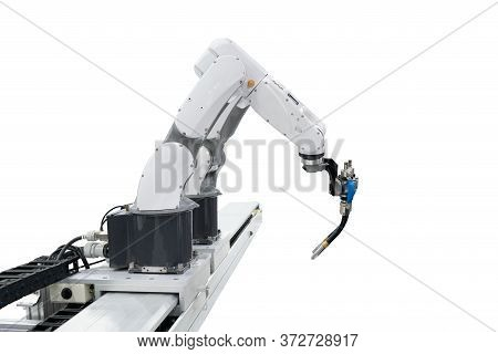 Robotic Welding On White Background Isolated With Clipping Path Concept Technology Industry Economy