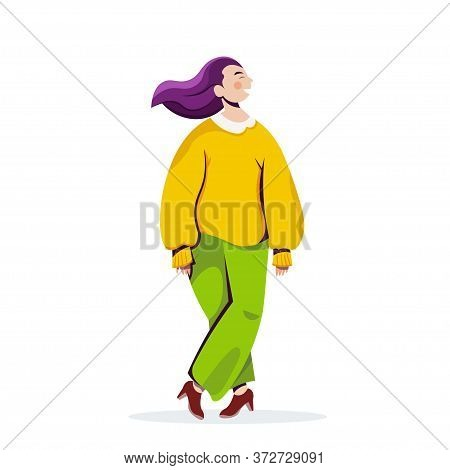 Smiling Woman Posing Girl In Casual Trendy Clothes Female Cartoon Character Standing Pose Full Lengt