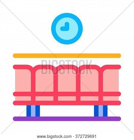 Railway Station Waiting Seats Icon Vector. Railway Station Waiting Seats Sign. Color Symbol Illustra