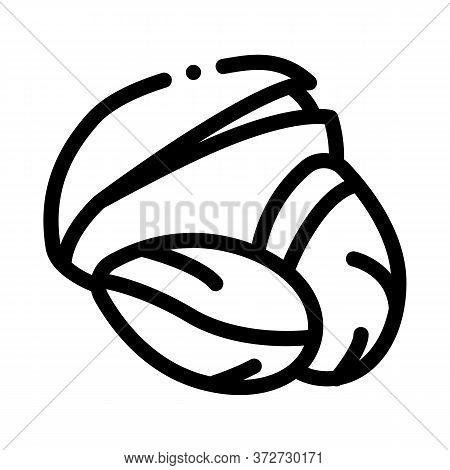 Pistachio Nut Icon Vector. Pistachio Nut Sign. Isolated Contour Symbol Illustration