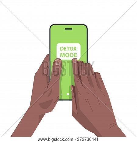 Human Hands Press Detox Mode On Smartphone Screen Digital Detox Concept Abandoning Internet And Soci