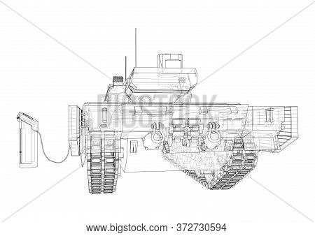 Electric Tank Charging Station Sketch. Vector Rendering Of 3d. Wire-frame Style. The Layers Of Visib