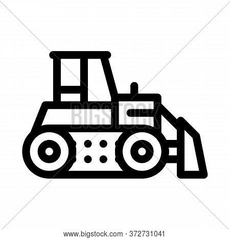 Road Repair Bulldozer Icon Vector. Road Repair Bulldozer Sign. Isolated Contour Symbol Illustration
