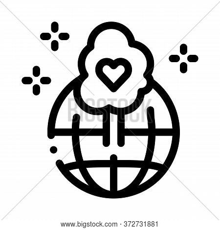 Wordwide Forestry Safe Icon Vector. Wordwide Forestry Safe Sign. Isolated Contour Symbol Illustratio