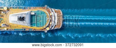 Aerial View Of Beautiful White Cruise Ship Above Luxury Cruise Close Up At Stern Of Cruise Sail With
