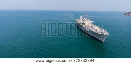 Nuclear Battle Ship, Military Navy Ship Carrier  Patrol Around Port.