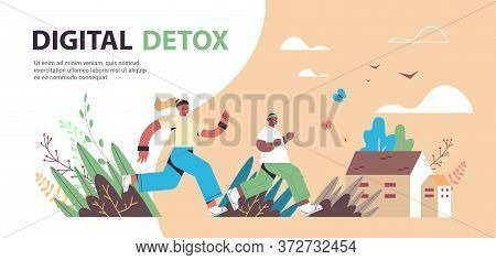 Mix Race Man Woman Running People Spending Time Without Gadgets Digital Detox Healthy Lifestyle Conc
