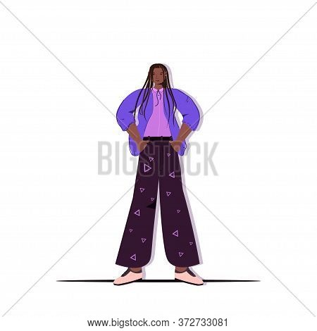 Model Fashion Woman Posing In Casual Trendy Clothes African American Female Cartoon Character Standi