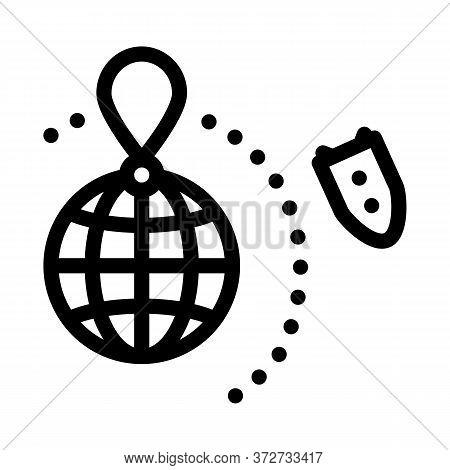 Rocket Fly Around World Icon Vector. Rocket Fly Around World Sign. Isolated Contour Symbol Illustrat