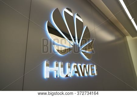 SHENZHEN, CHINA - CIRCA APRIL, 2019: close up shot of Huawei sign as seen in China International Consumer Electronics Exchange/Exhibition Center (CEEC) at UpperHill in Shenzhen.