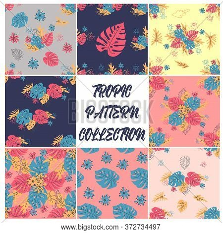 Set Of 8 Minimal Floral Pattern In Scandinavian Style. Abstract Monstera Flowers Seamless Pattern. T